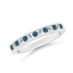 Enhanced Blue and White Diamond Semi Eternity Wedding Band