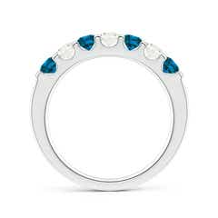 Toggle Prong-Set White and Enhanced Blue Diamond Half Eternity Band