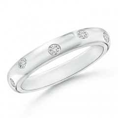 Gypsy Set Diamond High Domed Wedding Band for Women