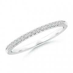 Fishtail Set Diamond Semi Eternity Wedding Band for Her