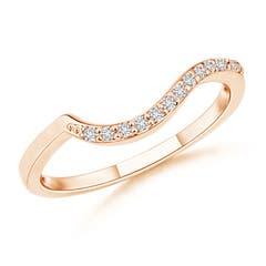 Prong Set Diamond Swirl Wedding Band for Women