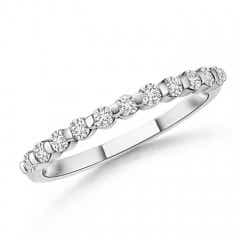 Floating Round Diamond Semi Eternity Wedding Band for Her