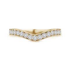Toggle Pave-Set Diamond Contour Wedding Band for Women