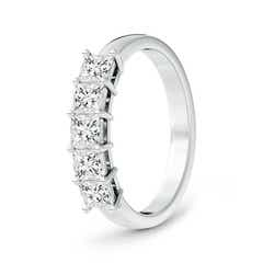 Toggle Classic Five Stone Princess Diamond Wedding Band for Her