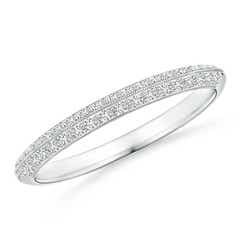Pave-Set Diamond Knife Edge Wedding Band for Women