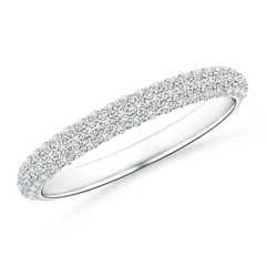 Triple Row Diamond Wedding Band for Women