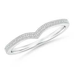Pave Half Eternity Diamond Pointed Wedding Band for Her