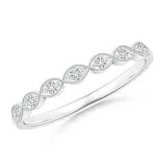 Pave Set Round Diamond Milgrain Wedding Band
