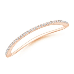 Pave-Set Round Diamond Curved Wedding Band