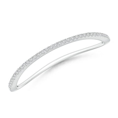Pave-Set Round Diamond Curved Wedding Band