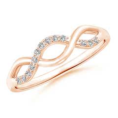 Single Sided Diamond Criss-Cross Infinity Ring