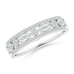 Triple-Layered Diamond Marquise and Dot Wedding Band