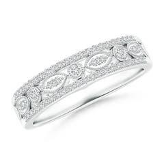 Triple-Layered Diamond Marquise and Dot Wedding Band