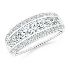 Cascading Diamond Triple-Row Anniversary Band