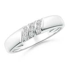 Triple Grooved Diagonal Diamond Women's Wedding Band