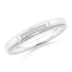 Vertical Grooved Diamond Half Eternity Women's Wedding Band