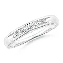 Angara Triple Grooved Diagonal Diamond Womens Wedding Band xOnCBRpsiU