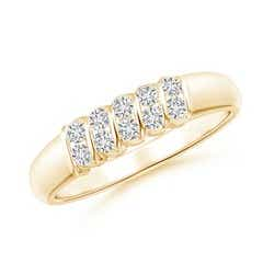 Slanted Bar-Set Diamond Ten Stone Wedding Band