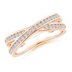 Criss-Cross Channel-Set Diamond Wedding Band