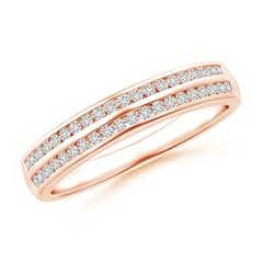 Channel-Set Diamond Double Row Wedding Band