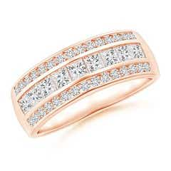 Channel-Set Princess and Round Diamond Triple Row Band