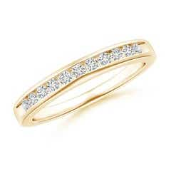 Eleven Stone Channel Grooved Diamond Wedding Band