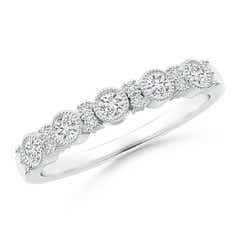 Milgrain-Edged Fusion Diamond Half Eternity band