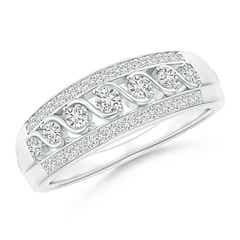 Triple-Row Diamond Seven Stone Swirl Anniversary Band