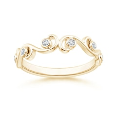 Bezel Set Diamond Ivy Scroll Half Eternity Band