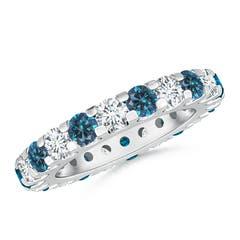 Shared Prong-Set White and Enhanced Blue Diamond Eternity Band