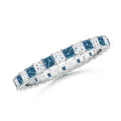 Princess-Cut White and Enhanced Blue Diamond Eternity Band