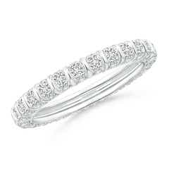 Bar Ridge Three-Sided Diamond Eternity Wedding Band