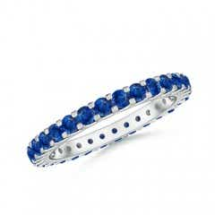 Shared Prong Set Eternity Sapphire Wedding Band