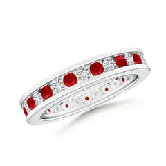 Channel Set Ruby and Diamond Eternity Wedding Band