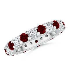 Shared Prong Ruby and Diamond Eternity Band