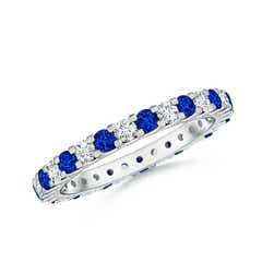 Shared Prong Sapphire and Diamond Eternity Band