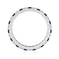 Shared Prong Square Sapphire and Diamond Eternity Band