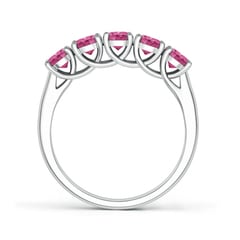 Toggle Half Eternity Five Stone Pink Sapphire Wedding Band