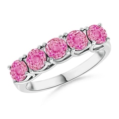 Half Eternity Five Stone Pink Sapphire Wedding Band