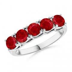 Angara Round Pink Tourmaline Half Eternity Wedding Ring HO38u2