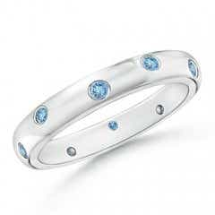 Gypsy Set Round Aquamarine Eternity Wedding Band