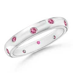 Gypsy Set Round Pink Tourmaline Eternity Wedding Band