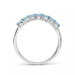 Toggle Half Eternity Seven Stone Aquamarine Wedding Band