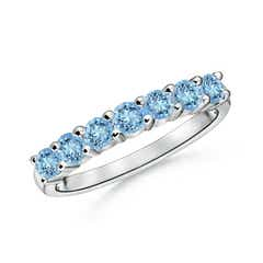 Half Eternity Seven Stone Aquamarine Wedding Band