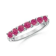 Half Eternity Seven Stone Pink Sapphire Wedding Band