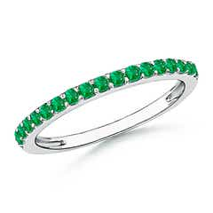 Prong Set Half Eternity Round Emerald Wedding Band