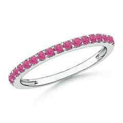 Prong Set Half Eternity Round Pink Sapphire Wedding Band
