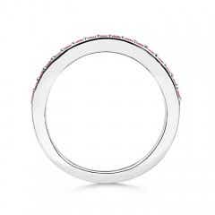 Toggle Prong Set Half Eternity Round Pink Sapphire Wedding Band