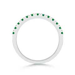 Toggle Unique Prong Emerald Half Eternity Wedding Band