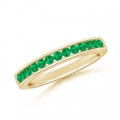 Channel Set Half Eternity Emerald Wedding Band